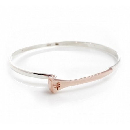 Exclusive Sterling Silver & 18ct Rose Gold Plate Farrier Nail Bangle