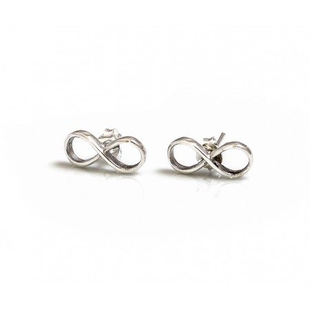 Sterling Silver Infinity Stud Earrings