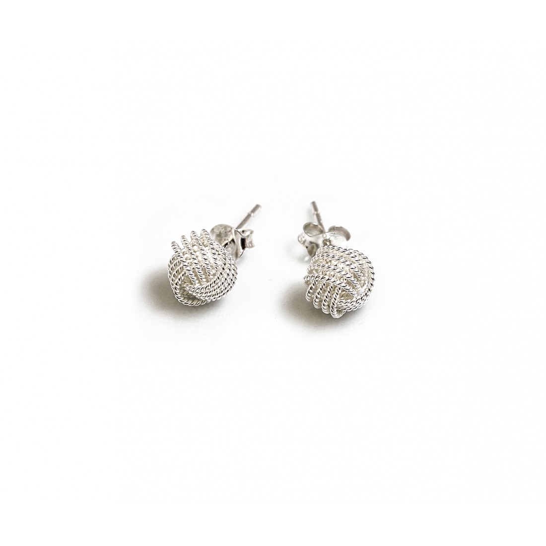 Sterling Silver Beaded Knot Stud Earrings