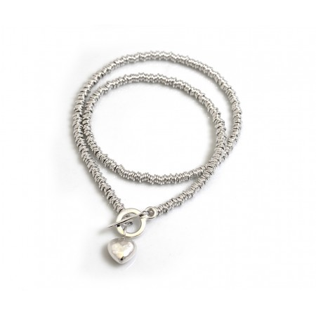 Sterling Silver Multi-link Necklace With Hammered Heart