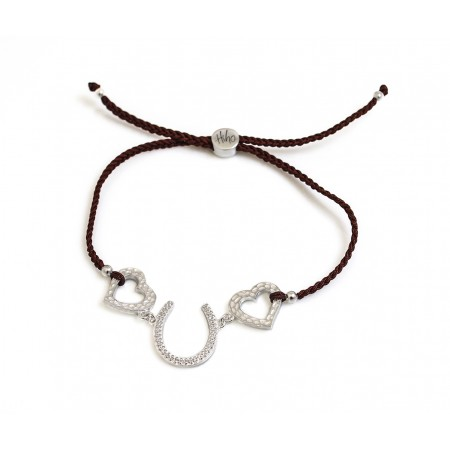 Exclusive Sterling Silver And CZ Hearts & Horseshoes Friendship Bracelet