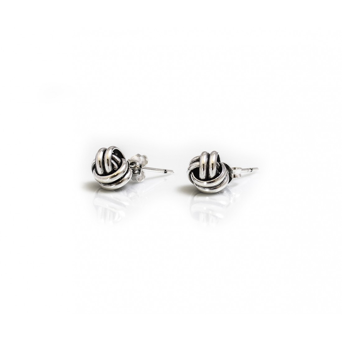 Sterling Silver Oxidised Knot Stud Earrings