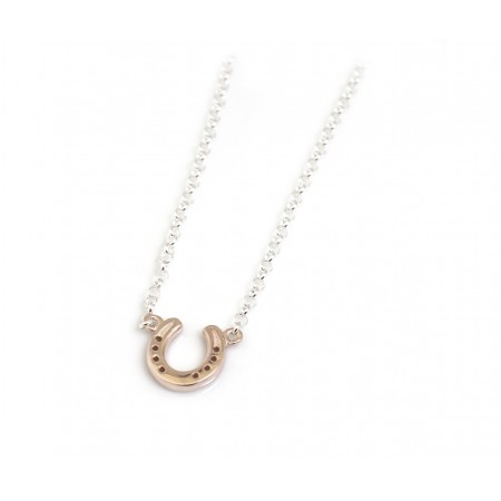 Sterling Silver And 18ct Rose Gold Plate Horseshoe Necklace