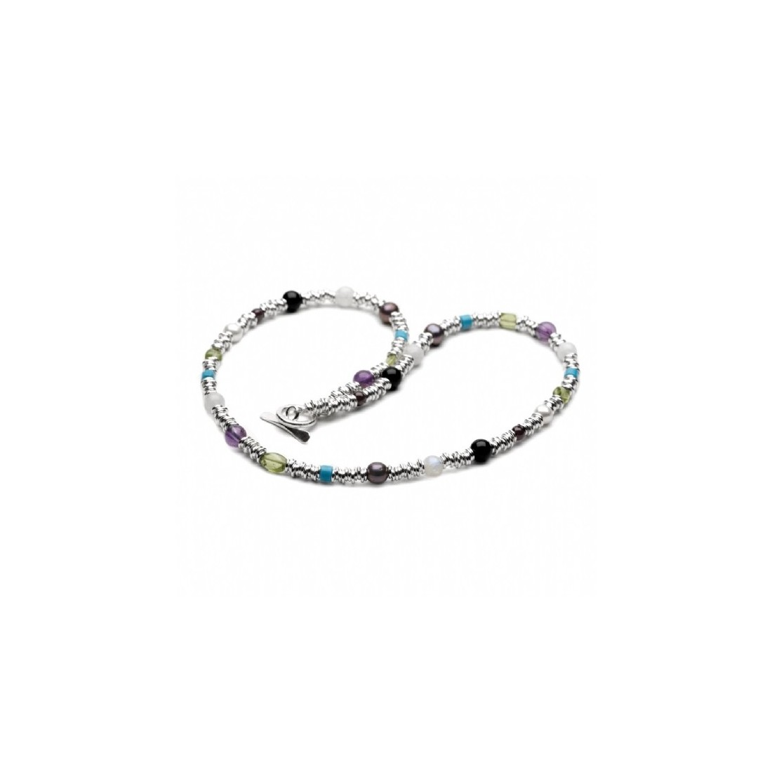 Sterling Silver Multi-Link & Multi-Stone Necklace