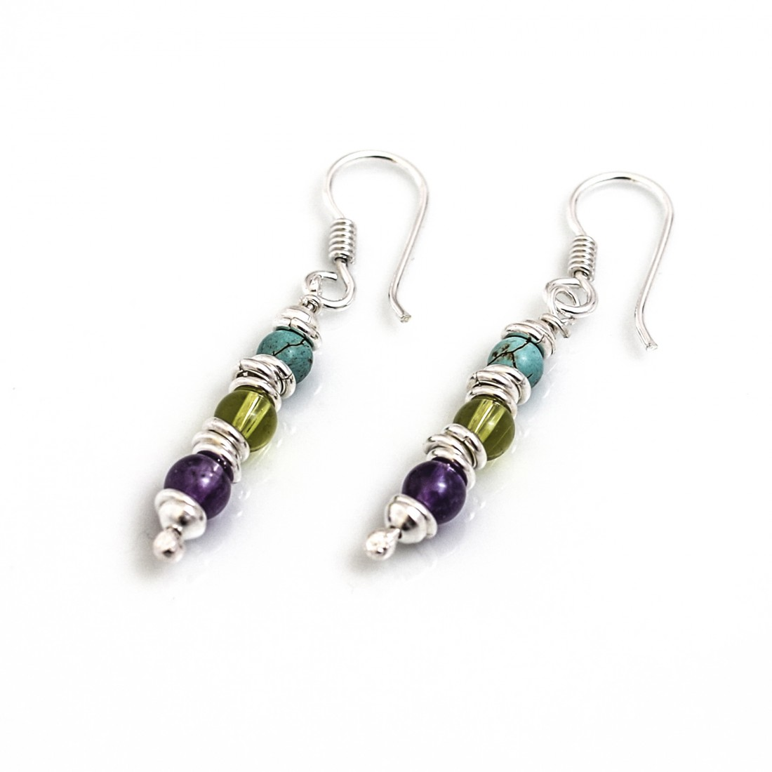 Sterling Silver Multi-Link And Multi-Stone Earrings