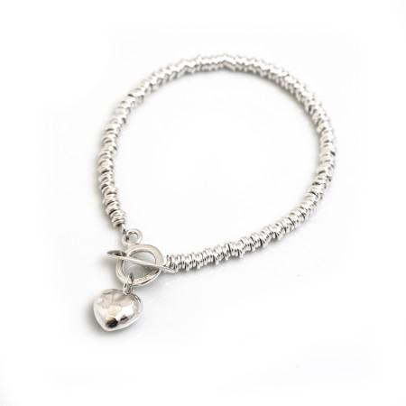 Sterling Silver Multi-link Bracelet With Hammered Heart