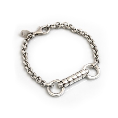 Exclusive Sterling Silver Snaffle Fob Cherry Roller Bracelet