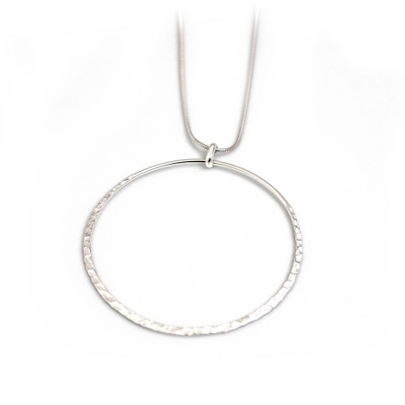 Sterling Silver Hammered & Plain Hoop Pendant With Snake Chain