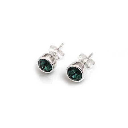 May Birthstone - Sterling Silver & Green CZ Stud Earrings