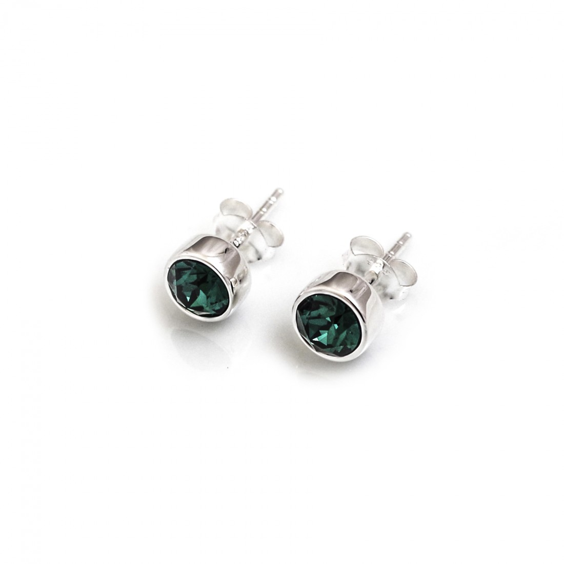 May Birthstone - Sterling Silver & Green CZ Stud Earrings