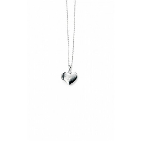 Sterling Silver Reversible Hammered And Plain Heart Locket With Chain