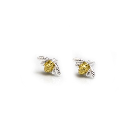 Sterling Silver & 18ct Gold Plate Bumblebee Stud Earrings