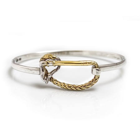 Exclusive Sterling Silver & 18ct Yellow Gold Plate Whip Bangle