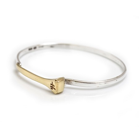 Exclusive Sterling Silver & 18ct Yellow Gold Plated Farrier Nail Bangle