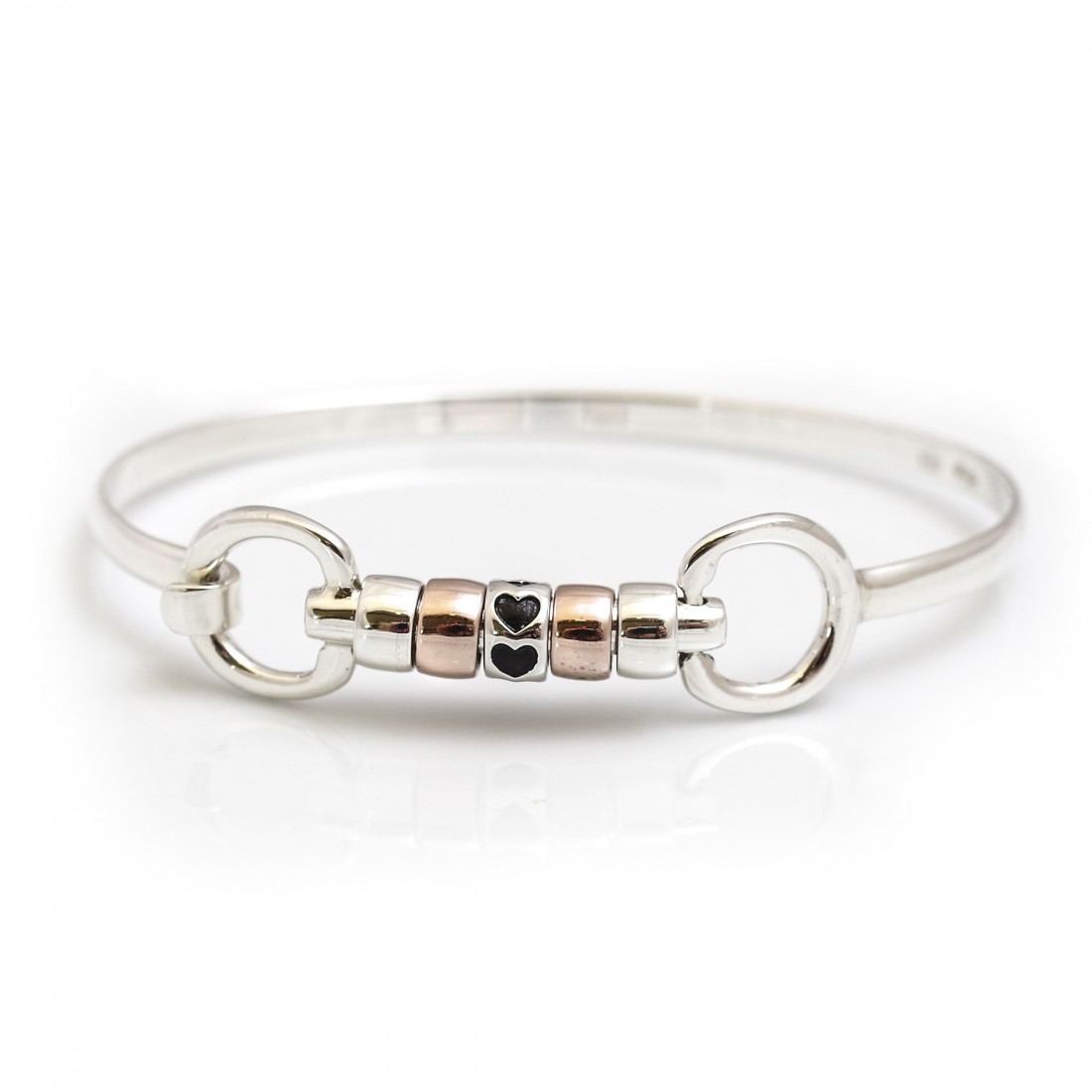 Exclusive Sterling Silver & 18ct Rose Gold Plate Cherry Roller Snaffle Bangle With Love Hearts Roller Bead
