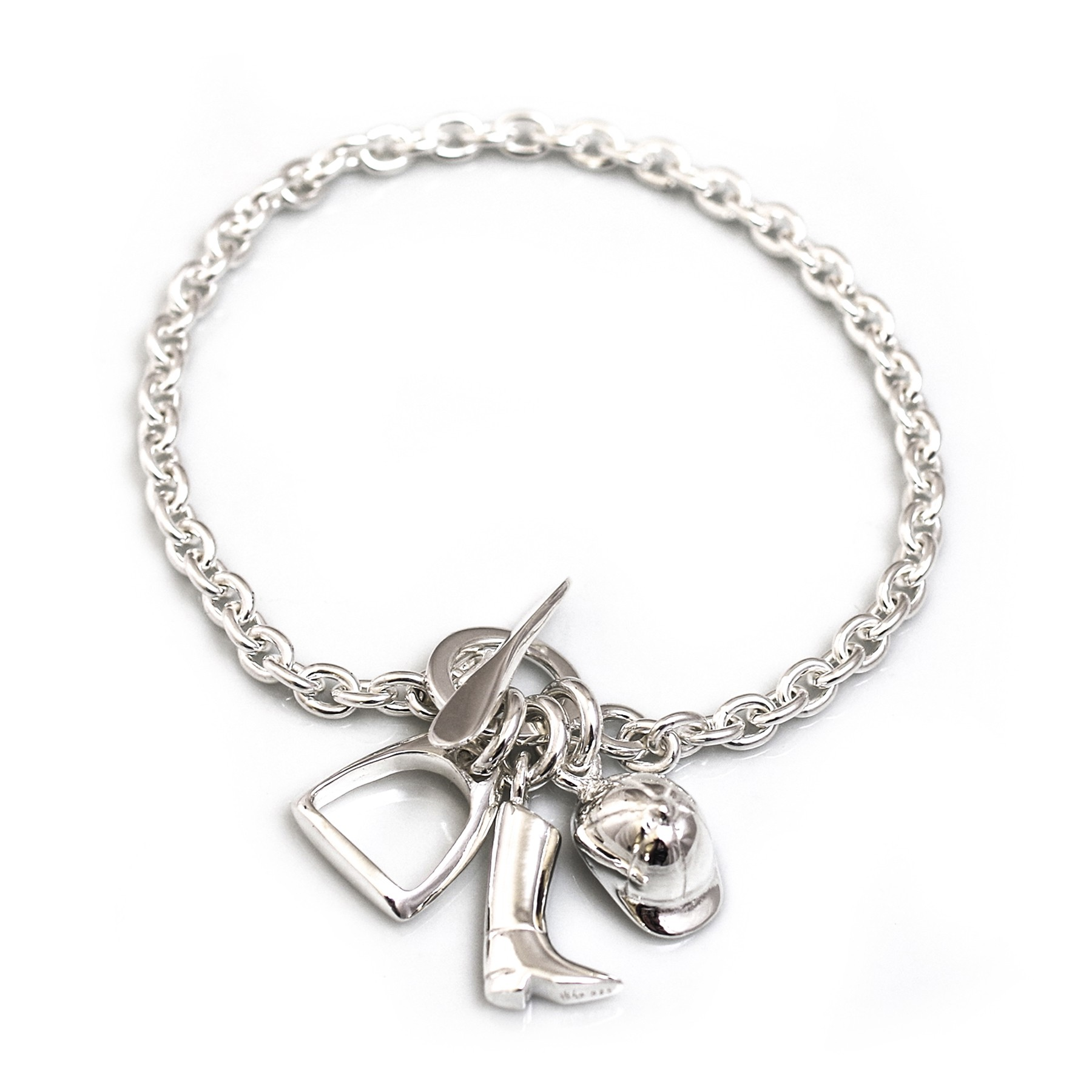 9976bb8af Sterling Silver Fob Bracelet with Equestrian Charms. cob0033. Jewellery ...