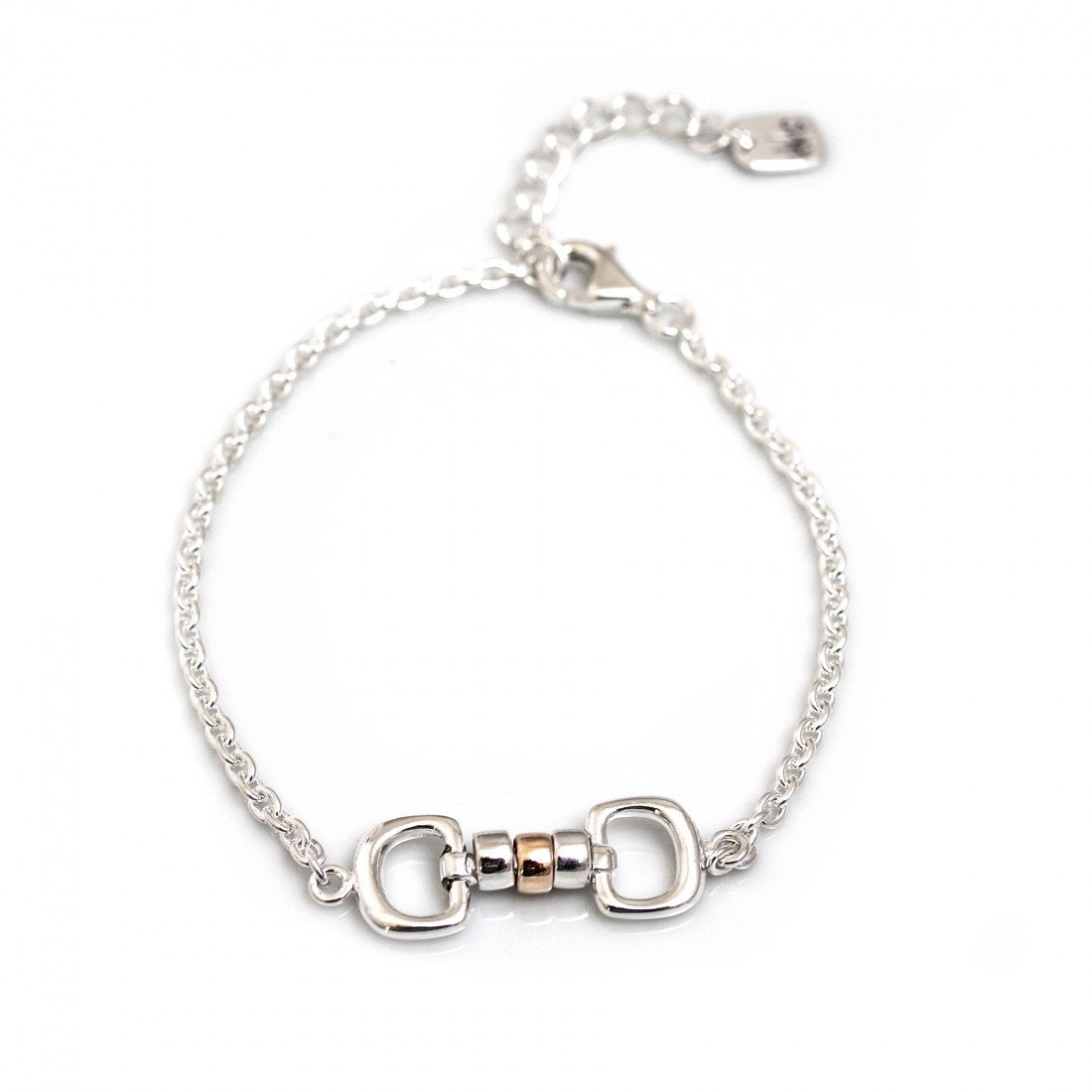 Exclusive Sterling Silver & 9ct Rose Gold Cherry Roller Snaffle Fob Bracelet