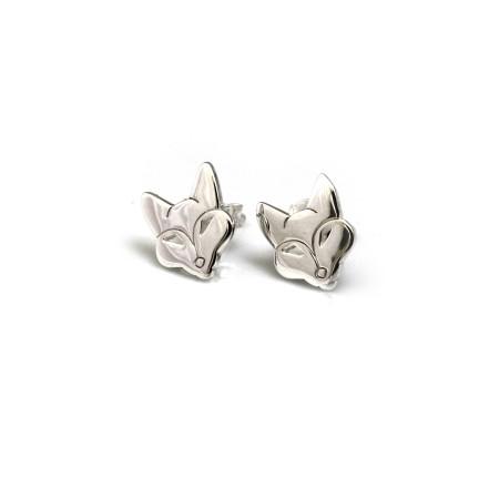 Sterling Silver Flat Foxy Studs