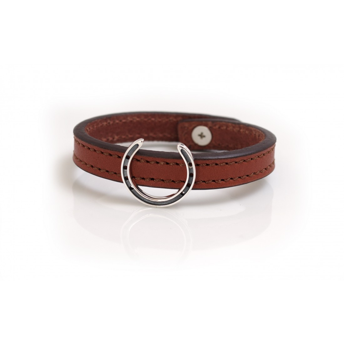 Exclusive Sterling Silver Horseshoe With Leather Bracelet