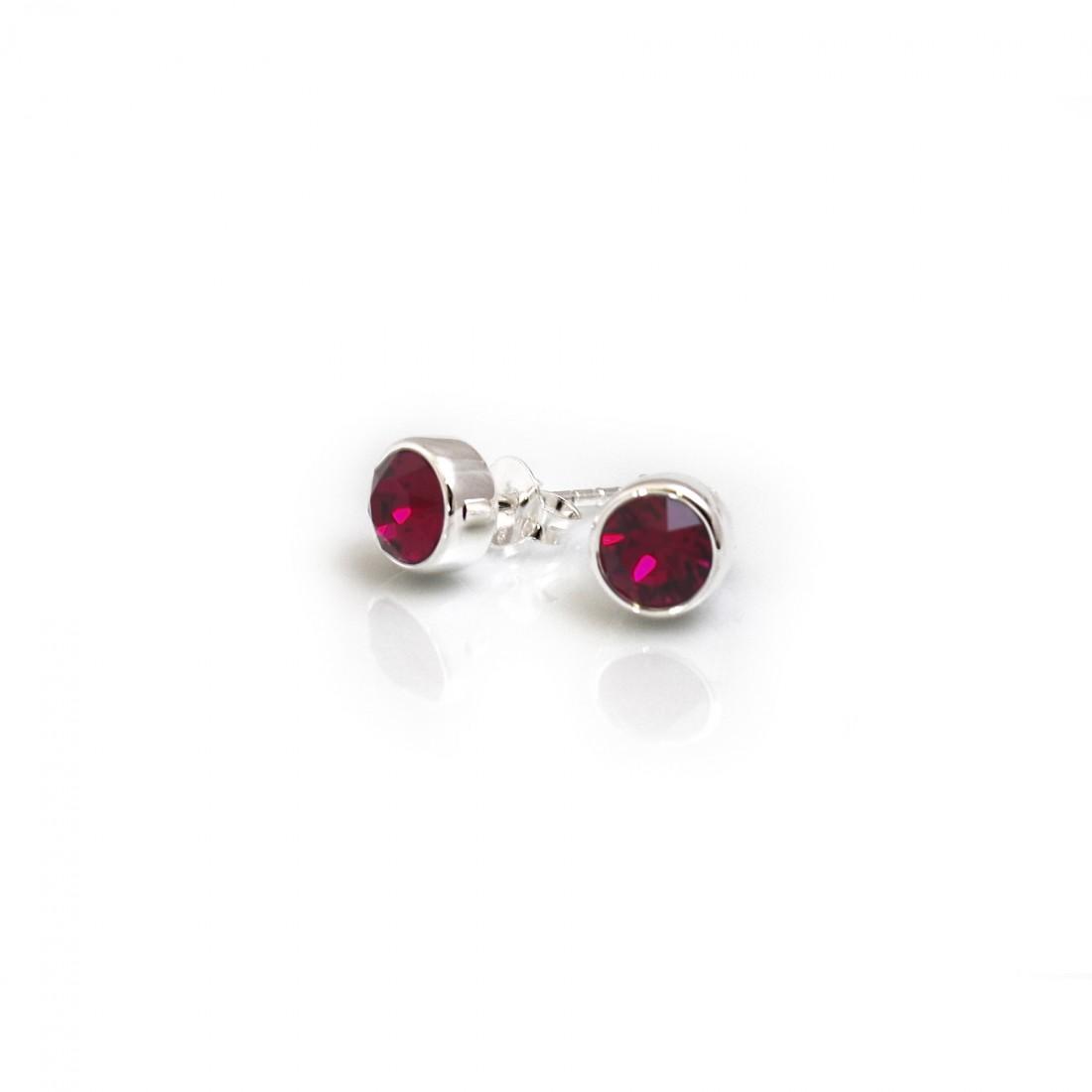 July Birthstone -Sterling Silver & Ruby CZ Stud Earrings