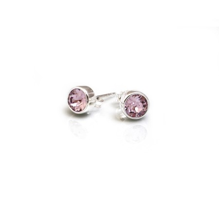 June Birthstone - Sterling Silver & Light Amethyst CZ Stud Earrings