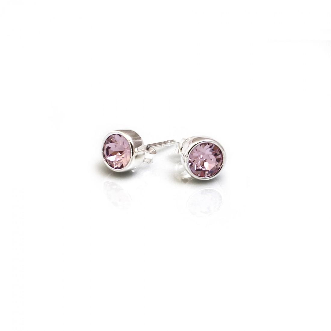 June Birthstone - Sterling Silver & Light Amethyst CZ Stud Earrings