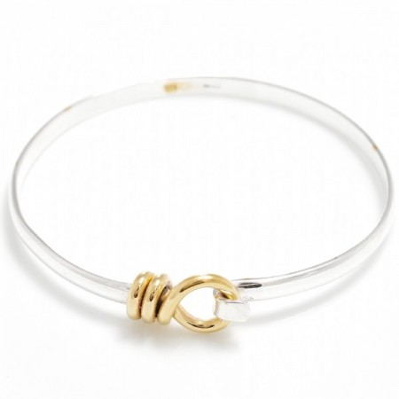Exclusive Sterling Silver & 18ct Gold Vermeil Spiral Circle Clip Bangle