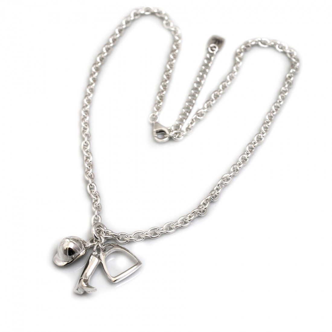 Sterling Silver Fob Necklace with Equestrian Charms