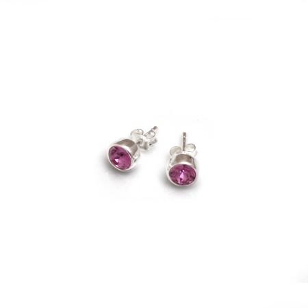 October Birthstone - Sterling Silver & Rose CZ Stud Earrings