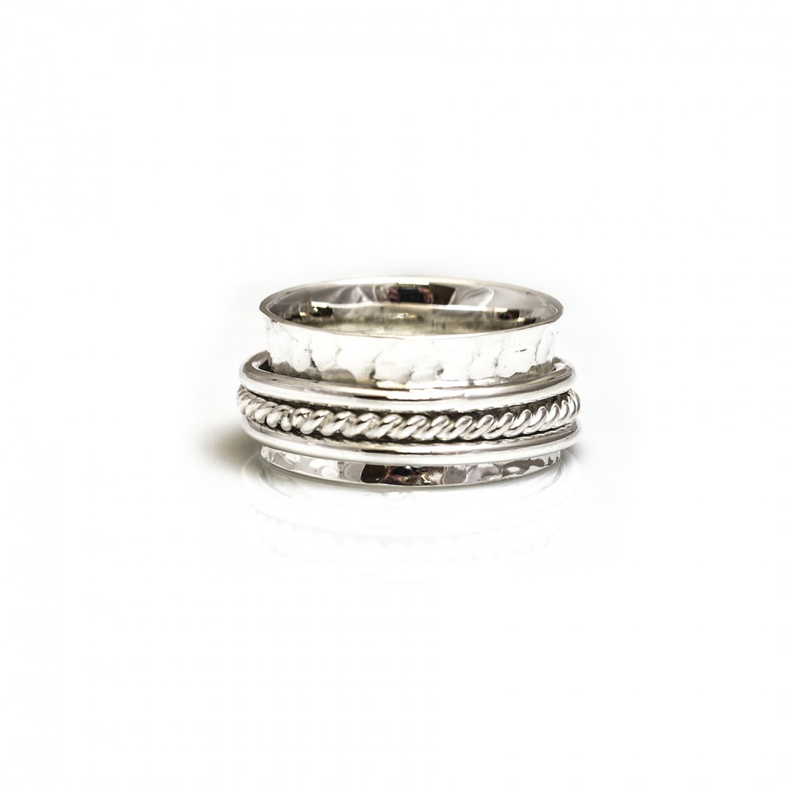 Sterling Silver Hammered Triple Hoop Spinner Ring