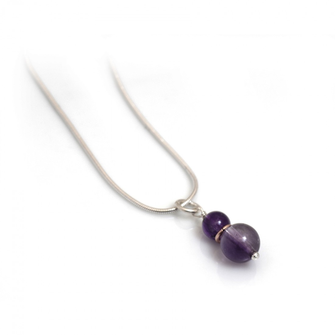 Hiho Handmade - Amethyst & Rose Gold Plate Pendant With Sterling Silver Snake Chain