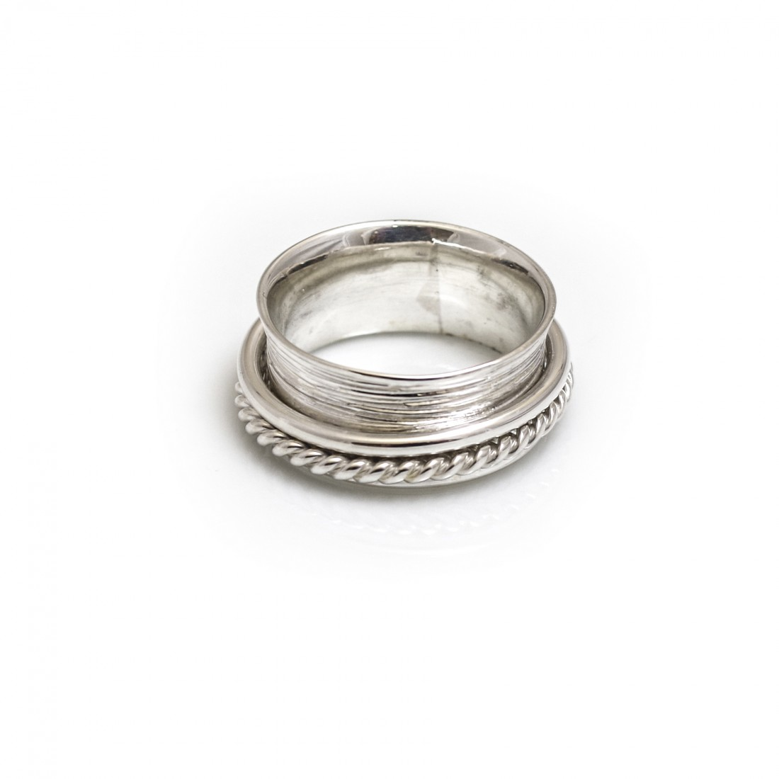 Sterling Silver Textured & Plain Spinner Ring