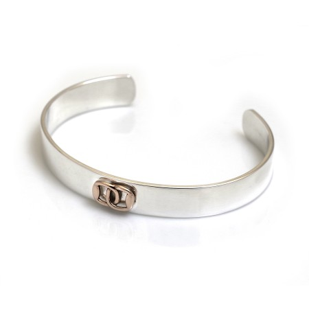 Exclusive Sterling Silver & Solid 9ct Rose Gold Snaffle Cuff Bracelet