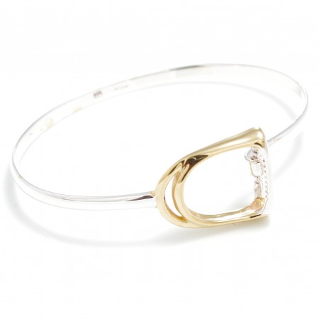 Sterling Silver & 18ct Gold Plate Stirrup Bangle