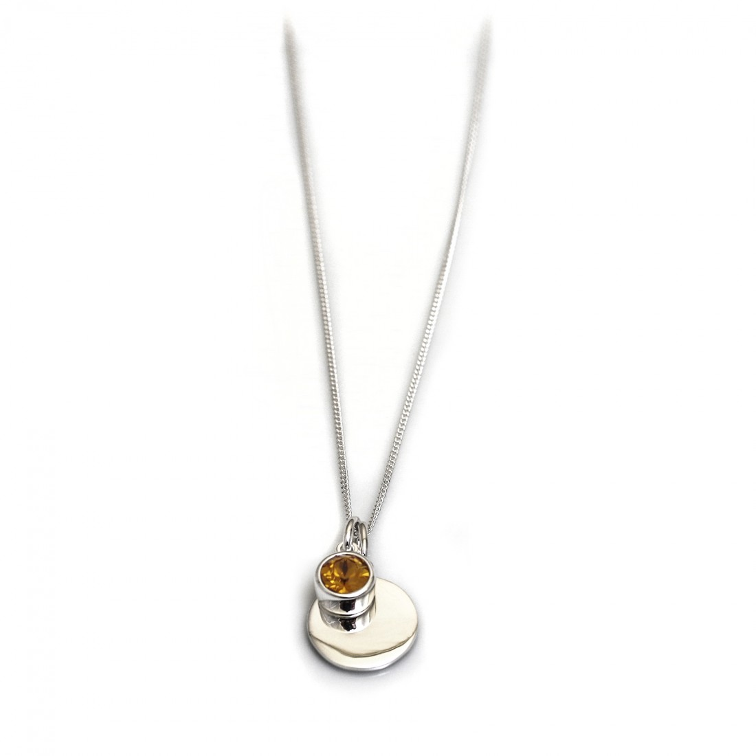 November Birthstone - Citrine CZ & Silver Disc Necklace
