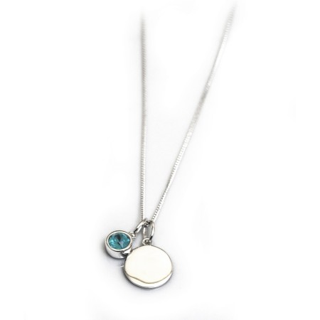 December Birthstone - Blue Zirconia & Silver Disc Necklace