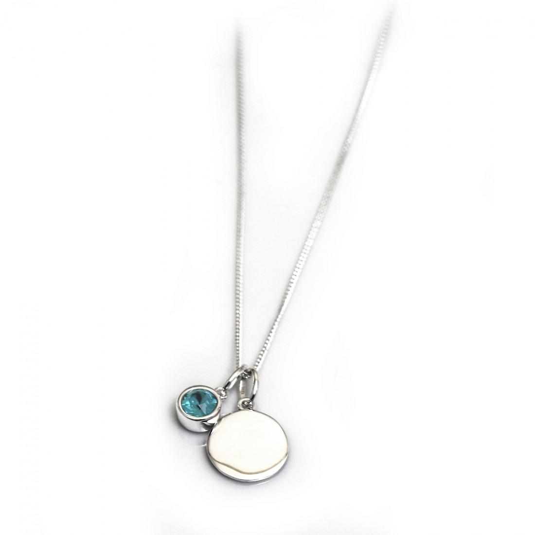 December Birthstone - Blue Zirconia & Silver Disc Necklace