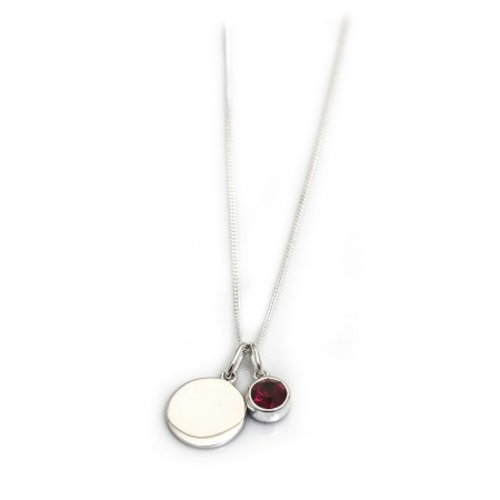 January Birthstone - Garnet CZ & Silver Disc Necklace