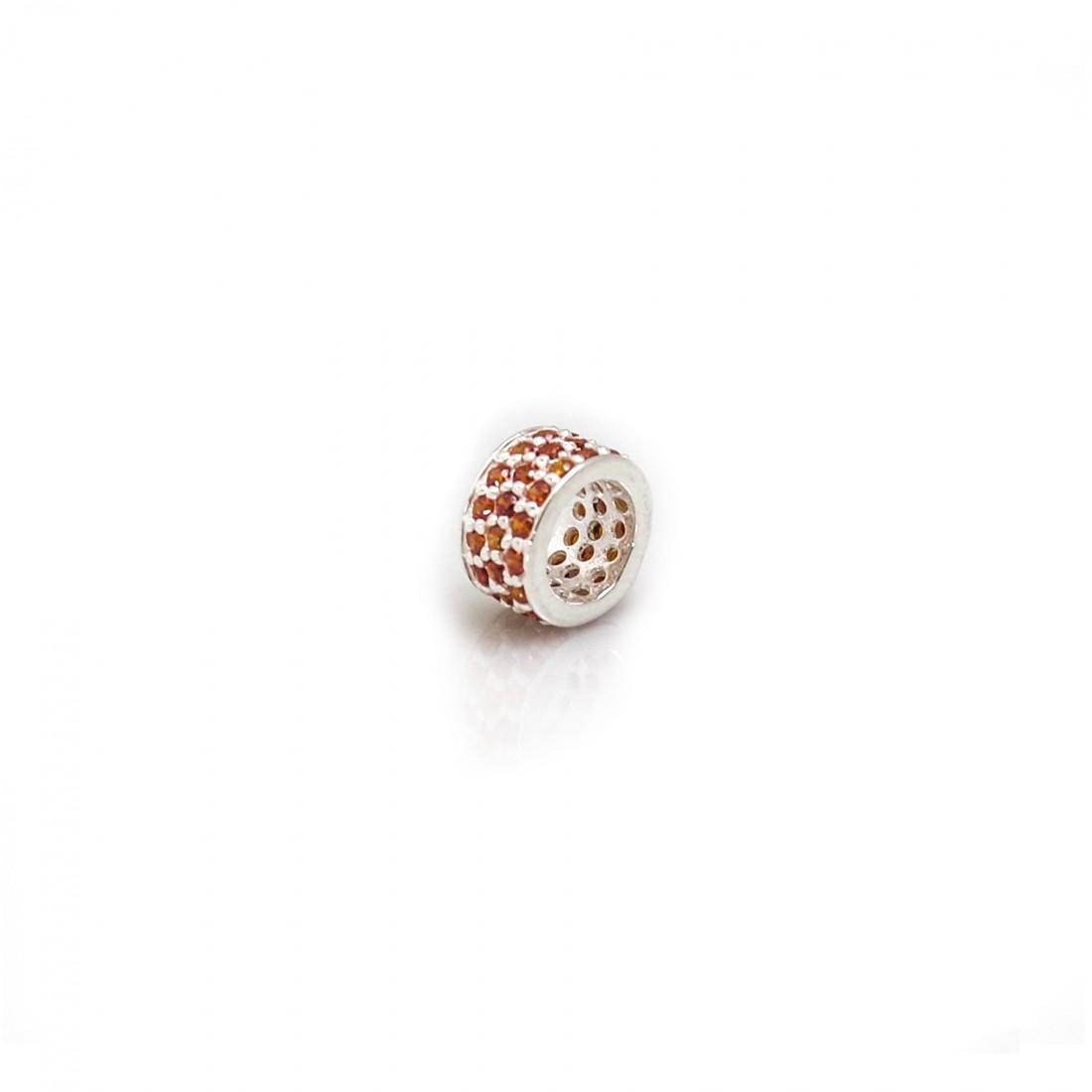 Exclusive Sterling Silver & Orange CZ Starlight Roller Charm Bead