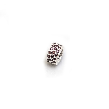 Exclusive Sterling Silver & Chocolate Brown CZ Starlight Roller Charm Bead
