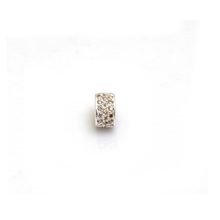 Exclusive Sterling Silver & Champagne CZ Starlight Roller Charm Bead