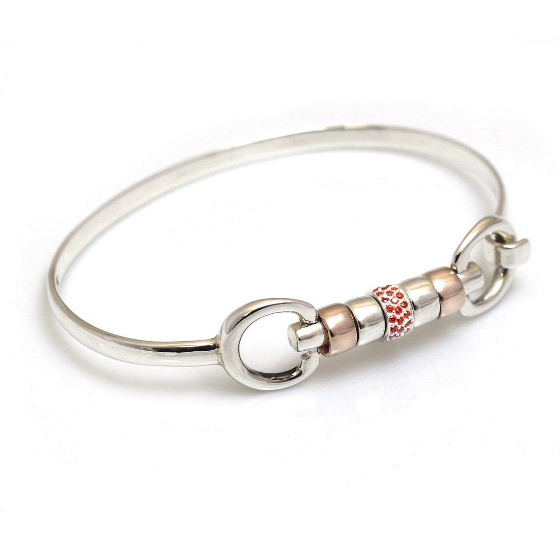 Exclusive Sterling Silver & 18ct Rose Gold Plate Cherry Roller Snaffle Bangle With Orange CZ Starlight Roller Bead