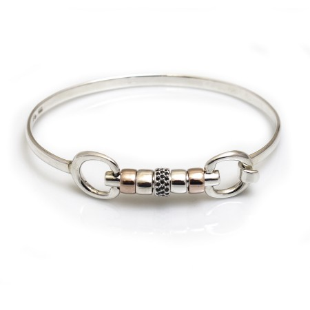 Exclusive Sterling Silver & 18ct Rose Gold Plate Cherry Roller Snaffle Bangle With Black CZ Starlight Roller Bead