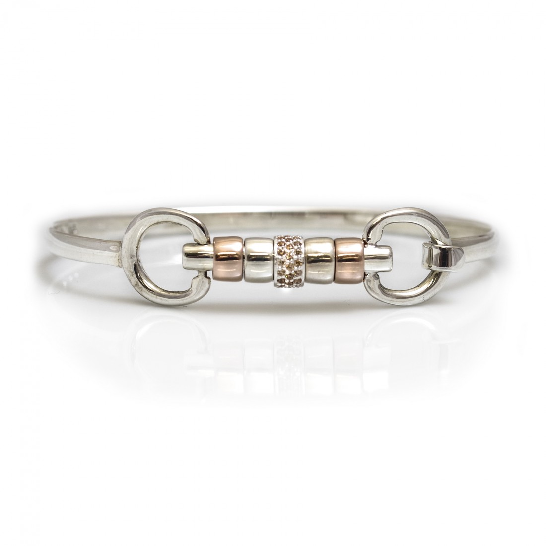 Exclusive Sterling Silver & 18ct Rose Gold Plate Cherry Roller Snaffle Bangle With Champagne CZ Starlight Roller Bead