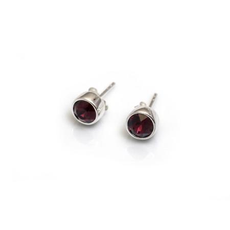 January Birthstone - Garnet CZ Stud Earrings