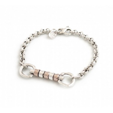 Exclusive Sterling Silver & 18ct Rose Gold Plate Snaffle Fob  Cherry Roller Bracelet