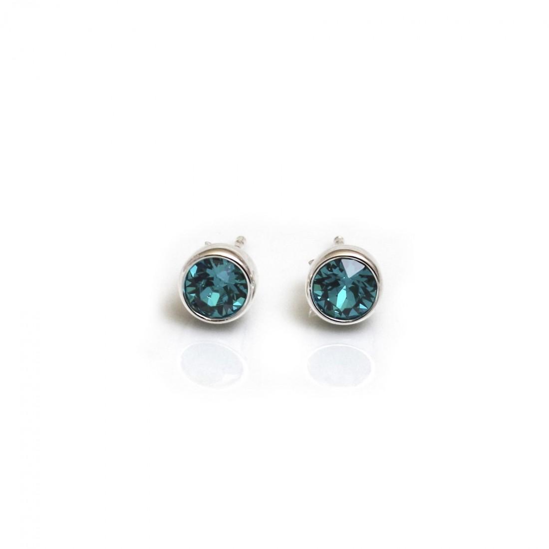 December Birthstone - Blue Zirconia Stud Earrings