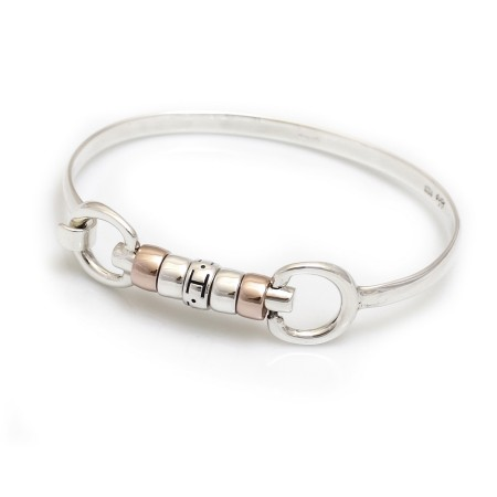 Exclusive Sterling Silver & 18ct Rose Gold Plate Cherry Roller Snaffle Bangle With Sterling Silver Letter Roller Bead