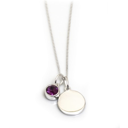 February Birthstone - Amethyst CZ & Silver Disc Necklace
