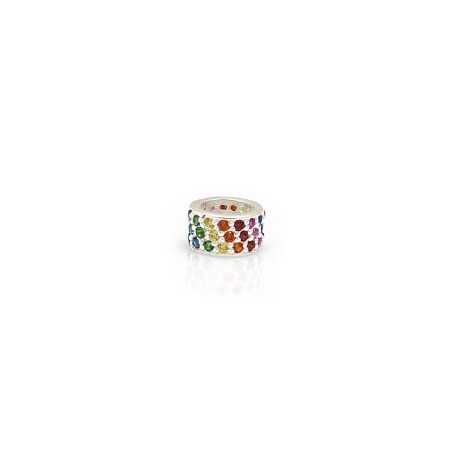 Exclusive Sterling Silver Rainbow CZ Starlight Roller Charm Bead